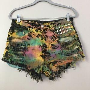 Levi's 505 High Waisted Tye Dye Cutoff Shorts 32
